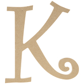 """Curly-Q Wood Letter K - 8"""""""