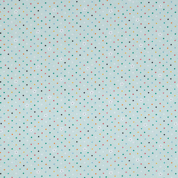 Mint Polka Dot & Daisy Cotton Calico Fabric