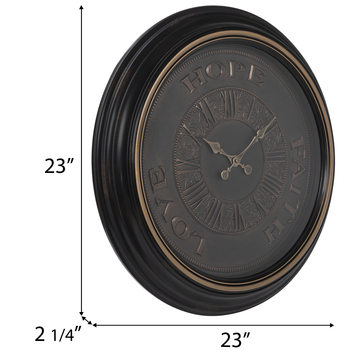 Faith Hope Love Ornate Wall Clock
