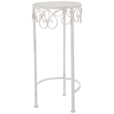 Antique White Metal Plant Stand