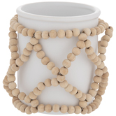 White Flower Pot With Beads