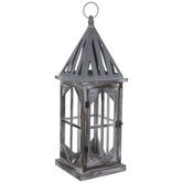 Gray Swiveling Door Wood Lantern