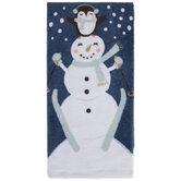 Skiing Snowman & Penguin Kitchen Towel