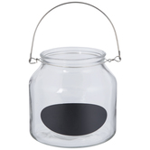 Glass Container With Handle & Chalkboard