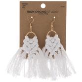 White Macrame Tassel Earrings