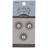 Pewter Rhinestone Shank Buttons - 16mm