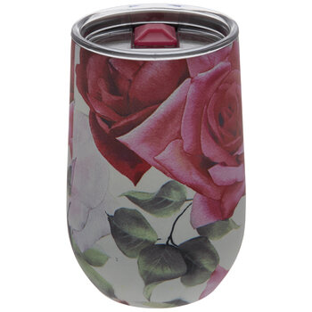 Pink Floral Stainless Steel Vacuum Cup