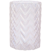 Iridescent Pink Chevron Glass Candle Holder