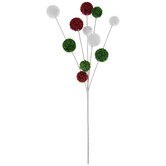 Red, White & Green Tinsel Ball Pick