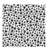 """Black & White Paw Prints Scrapbook Paper - 12"""" x 12"""""""