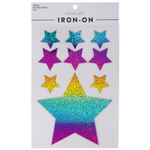 Holographic Rainbow Star Iron-On Appliques