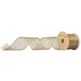 """Gold Dots & Striped Wired Edge Sheer Ribbon - 2 1/2"""""""