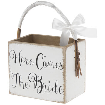 Here Comes The Bride Wood Basket