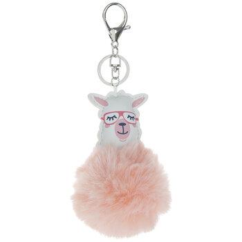 Light Pink Fuzzy Pom Pom Llama Keychain