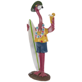 Flamingo With Surfboard