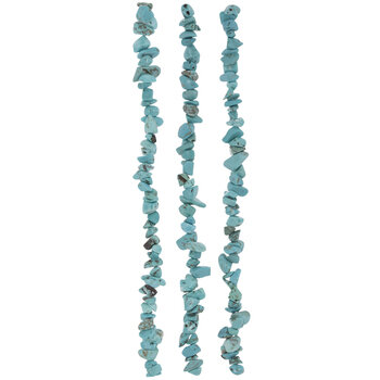 Dyed Turquoise Wagnerite Chip Bead Strands