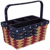 Red, Beige & Blue Striped Basket Utensil Holder