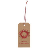 Red Foil Wreath Kraft Gift Tags