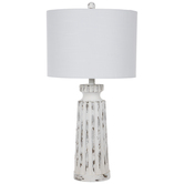 Whitewash Fluted Wood Lamp