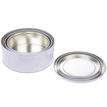 White Round Tin Box Set