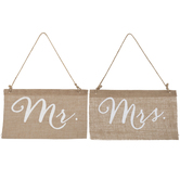Mr & Mrs Burlap Chair Signs