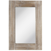 Whitewash Rectangle Wood Wall Mirror