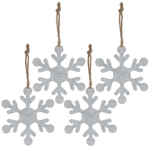 Galvanized Snowflake Ornaments
