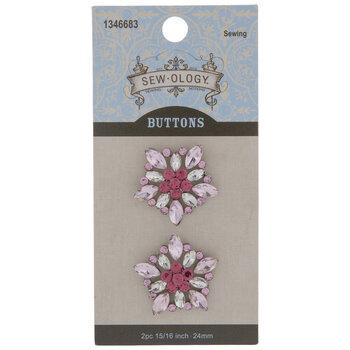 Pink Rhinestone Flower Shank Buttons - 24mm