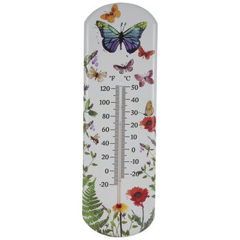 Butterfly Floral Metal Thermometer
