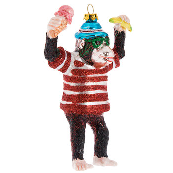 Glitter Monkey Holding Ice Cream & Banana Ornament