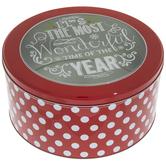 Red & White Polka Dot Round Tin Box