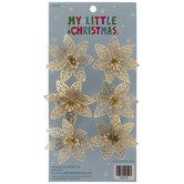 Mini Gold Poinsettia Ornaments