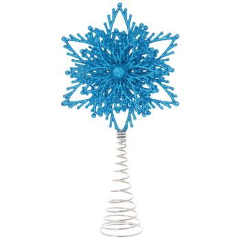 Blue Glitter Snowflake Mini Tree Topper