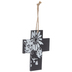 White & Black Floral Wood Wall Cross