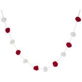 Red & White Pom Pom Garland