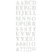 White Alphabet Stickers With Rhinestones