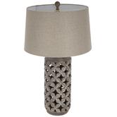 Distressed Silver Petals Lamp