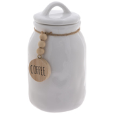 White Coffee Beaded Canister