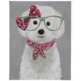 White Dog In Glasses Canvas Wall Decor