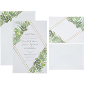 Gold Foil Geo Botanical Wedding Invitations