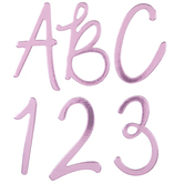 Pink Foil Script Chipboard Alphabet Stickers