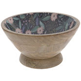 Pink Floral Wood Bowl