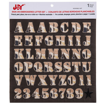 Brown Camo Embroidered Letter Iron-On Applique Alphabet