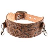 Brown Flourish Leather Snap Bracelet