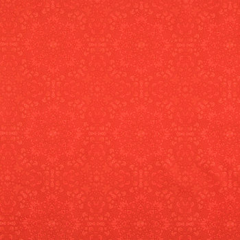 Red Medallion Cotton Calico Fabric