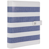 Blue & White Striped 6-Ring Planner Binder
