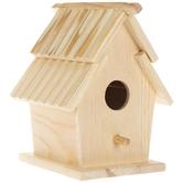 Slat Roof Wood Birdhouse