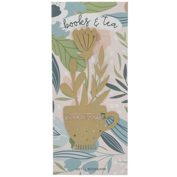 Gold Floral Teacup Metal Bookmark