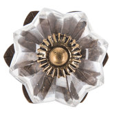 Floral Glass Knob With Base
