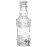 Etched Glass Bottle Beverage Dispenser